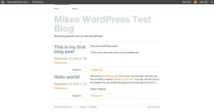WordPress blog front page with your first post