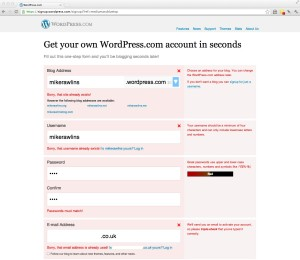 WordPress signup screen with errors