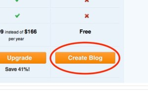 WordPress Create Blog button