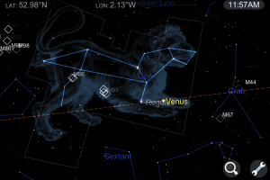 screen capture of the star chart app showing the Lion