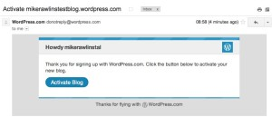 WordPress activation E-mail